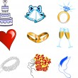 Stock Vector: Wedding Button Icons