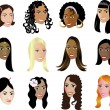 Royalty-Free Stock Vector Image: Women Faces