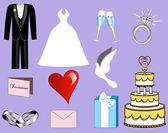 Icone nozze — Vettoriale Stock