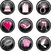 Wedding Button Icons — Stock Vector