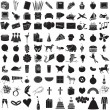 Vector Illustration of 100 Icon Objects with outlines. Everything from holi — ストックベクタ