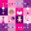 Baby Girl Quilt 1 - Stock Vector