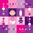 Stock Vector: Baby Girl Quilt 2