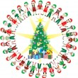 32 Kids Love Christmas World 2 — Image vectorielle
