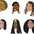 Stock Vector: Natural Black Hairstyles 1