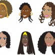 Natural Black Hairstyles 1 — Vektorgrafik