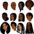 Black Women Faces - Stock Vector