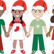 Royalty-Free Stock Imagem Vetorial: Christmas Kids United 1