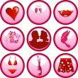 Royalty-Free Stock 矢量图片: Love Icon Buttons