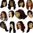 Brunette Women Faces — Imagen vectorial