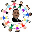 Martin Luther King with kids - Stock Vector