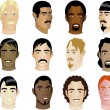 Men's Faces — Imagen vectorial