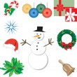Nine Christmas Icons 1 - Stock Vector