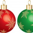Christmas Ornament Green & Red — Vector de stock