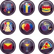 Party Icon Buttons — Imagen vectorial