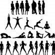 Royalty-Free Stock Vector Image: Collection of silhouettes - twenty seven figures