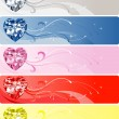 5 Diamond Heart Banners — ストックベクタ