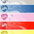 5 Diamond Heart Banners — Stock Vector