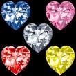 5 corazones de diamantes — Vector de stock