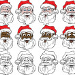 Santa Faces — Stock Vector