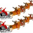 Santa with Sleigh and Reindeer — Stock Vector