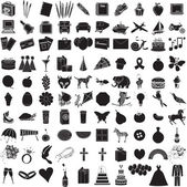 Vector Illustration of 100 Icon Objects with outlines. Everything from holi — Stock Vector
