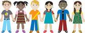 Kids Holding Hands 3 — Stock Vector