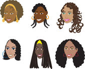 Natural Black Hairstyles 1 — Stock Vector