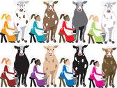 8 Ladies Milking — Stock Vector