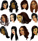 Brunette Women Faces — Stock Vector