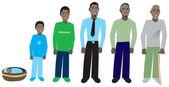 男年龄进展 1 — 图库矢量图片