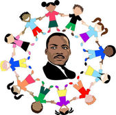 Martin Luther King with kids — Stock Vector