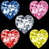 5 diamant-herzen — Stockvektor