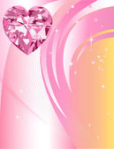 Pink Diamond Heart Background — Stock Vector