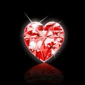 Red Diamond Heart — Stock Vector