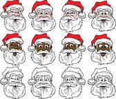 Santa Faces — Stock Vector