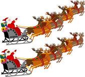 Santa z saniami i renifer — Wektor stockowy