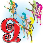 9 Ladies Dancing — Stock Vector
