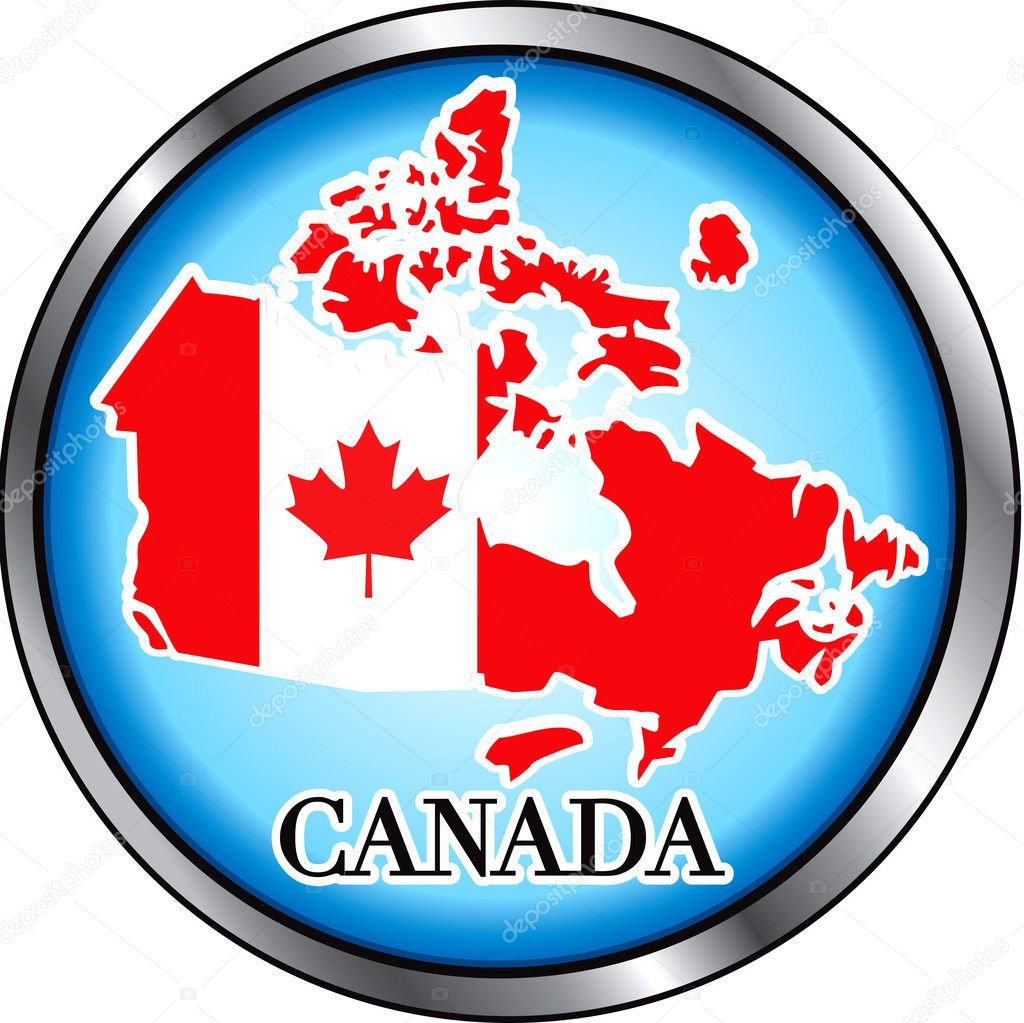 Vector Illustration for Canada, Round Button. Used Didot font.  Stock Vector #2501092