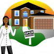Stock Vector: Open House with Agent