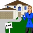 Real Estate House Woman — Stock Vector