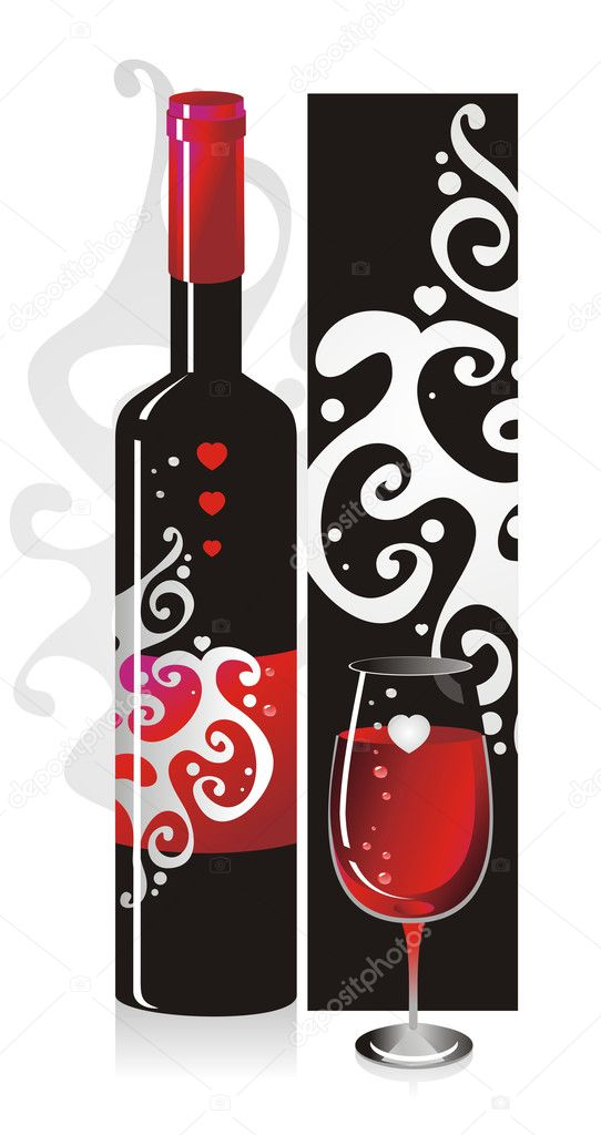 Composition from a bottle and a glass with red wine with a pattern and heart symbols  Stock Vector #2429963