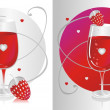 Red Glass & Strawberry — Stock Vector