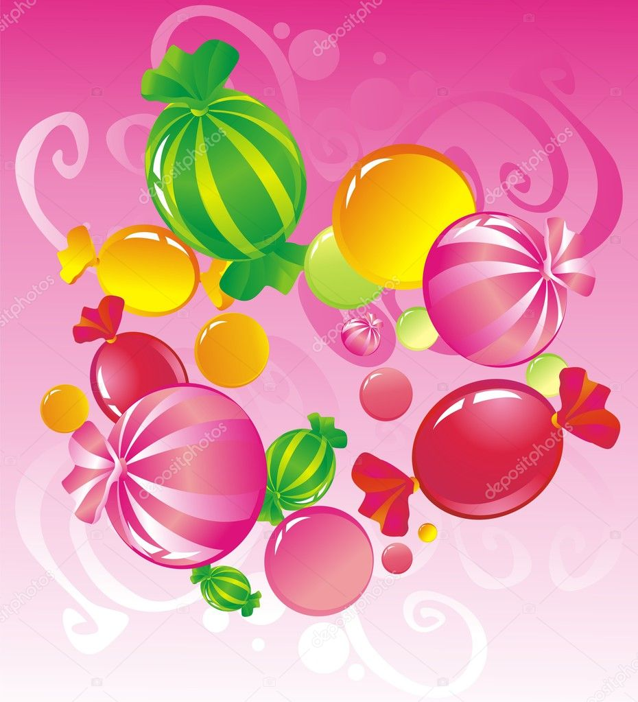 Allsorts from sweets on a pink background — Stock Vector #2430193