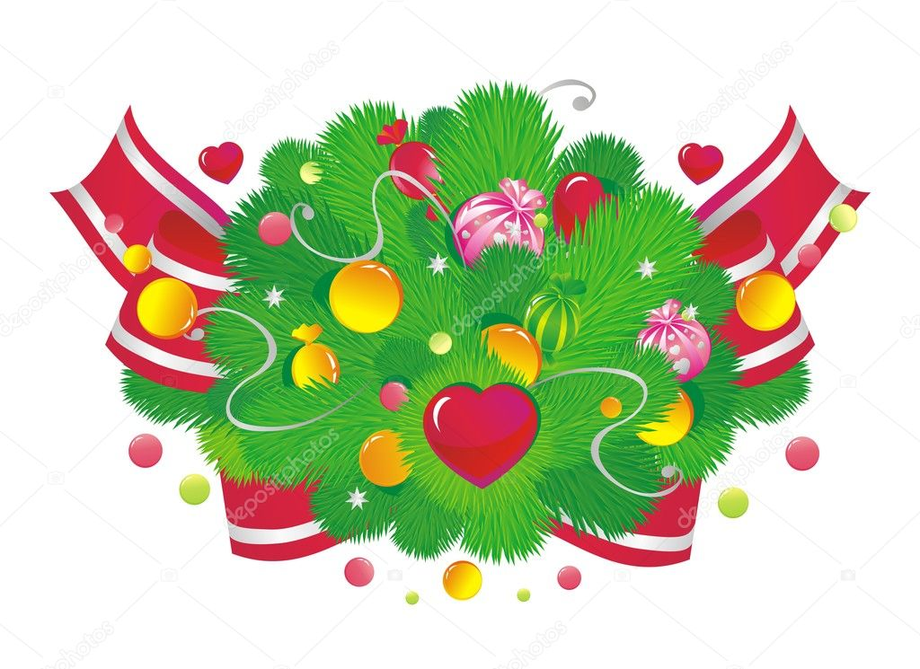 Christmas vignette with sweets and hearts  Stock Vector #2430235