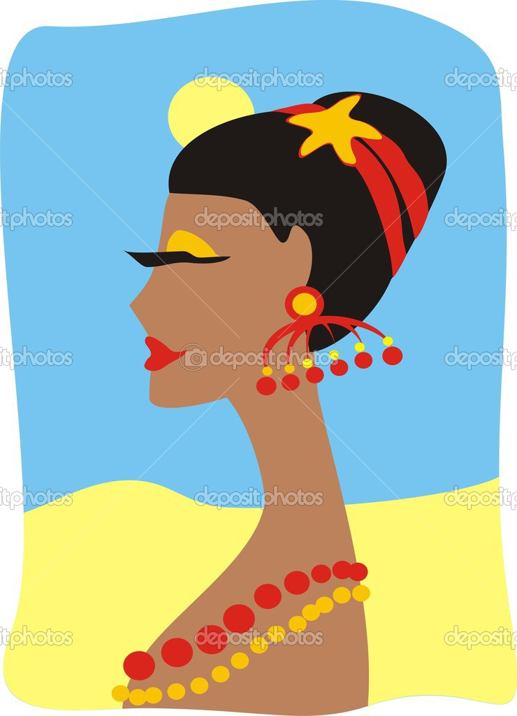 The suntanned girl with a beads — Stock Vector #2430303
