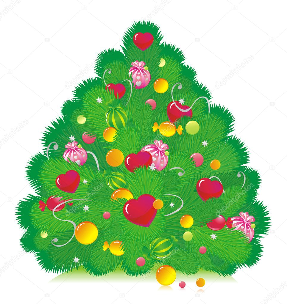 The Christmas fur-tree decorated with sweets and hearts — Vektorgrafik #2430584