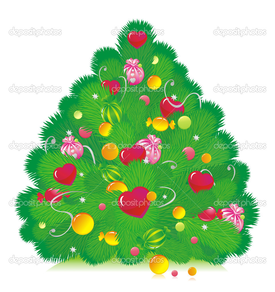 The Christmas fur-tree decorated with sweets and hearts  Stockvectorbeeld #2430584