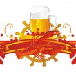 Stock Vector: Vignette beer with crawfish