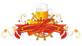 Vignette beer with a crawfish — Stock Vector